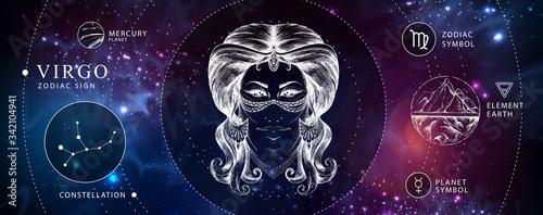 Obraz Modern magic witchcraft card with astrology Virgo zodiac sign. Realistic hand drawing woman head. Zodiac characteristic - fototapety do salonu