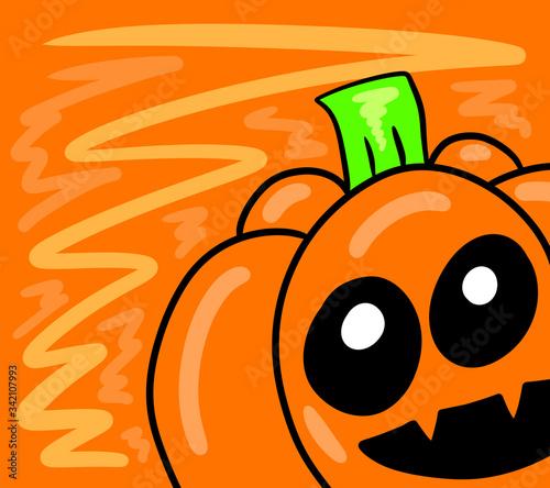 Valokuvatapetti Stylized Happy Halloween Pumpkin Card