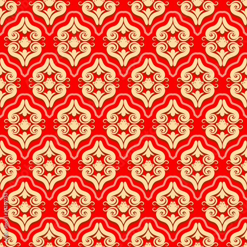 Fotomural Seamless brocade pattern of rococo swirls and floral motifs elements ornament