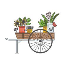 Wooden Flower Cart On Wheels F...