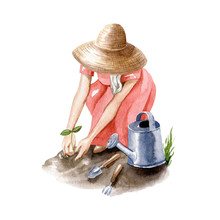 Young Blonde Woman In Straw Hat Works In Garden. Garden Girl With Watering Can, Shovel And Fork. Watercolor Illustration Isolated On White Background, Hand Drawn Clipart.