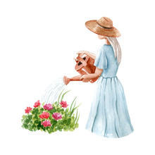 Young Blonde Woman In Blue Dress And Straw Hat Watering Flowers In The Garden. Watercolor Illustration Isolated On White Background, Hand Drawn Clipart. Human Body Fragment.