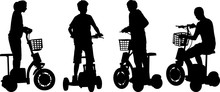 Silhouette Kids On Three-wheeled Electric Scooter