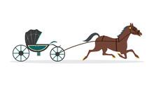 Brown Cartoon Horse Carrying Green Carriage Wagon