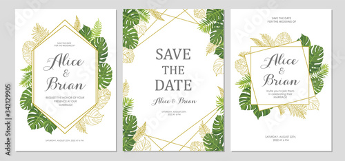 Fototapety, obrazy: Wedding invitation set. Cards with tropical green leaves and line art graphic. Floral border. Save the date, invite, birthday card design. Vector illustration.
