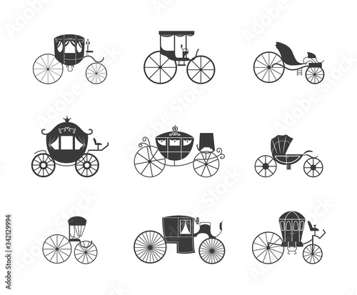 Foto Vintage carriage and coach wagon icon set isolated on white background