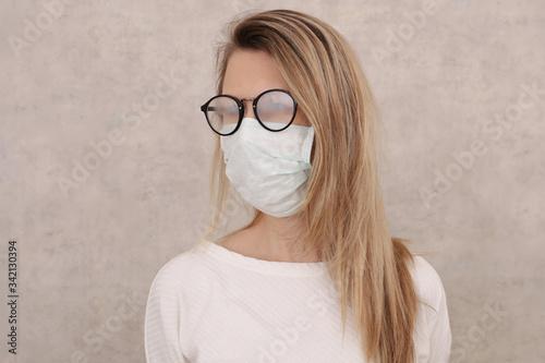 Cuadros en Lienzo Medical mask and Glasses fogging