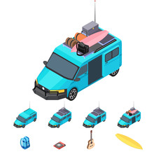 Vector Isometric Icon Set - Campervan, Bag, Tourist,  Travel, And Picnic Equipments - Bag, Stove, Guitar, Surfing Board - Infographic