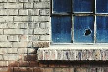 Broken Glass Window Of Building