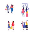 Young female friends shopping together - set of two cartoon women