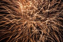Yellow Fireworks At Night