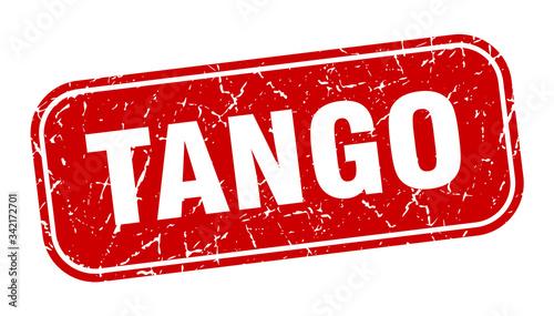 Fototapeta tango stamp. tango square grungy red sign