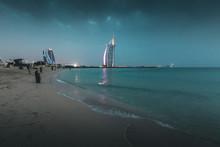 Burj Al Arab And Jumeirah Beach At Dusk Dubai - UAE
