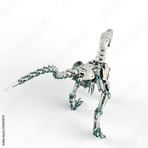 dino raptor robot rear view Fotomurales