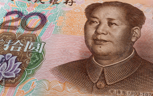 Fotografia Macro photography of 20 yuan of the peoples republic of china