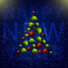 Christmas Balls Tree. Happy Ne...