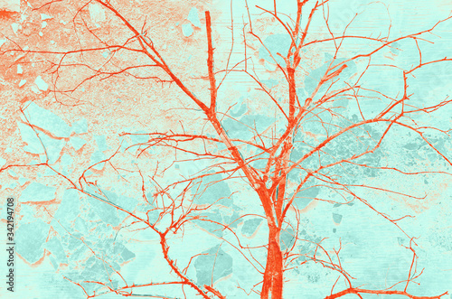 abstract red, orange, celadon and aquamarine colors background for design Canvas Print