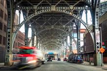 Traffic Under Architectural Landmark Riverside Drive Viaduct In West Harlem, Upper Manhattan, New York City, USA.