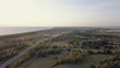 Birds eye view over green view landscape in summer sunset