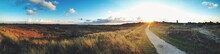 Panoramic View Of Dirt Road Amidst Grassy Field
