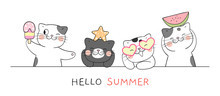 Draw Banner Funny Cat For Summer Season On White.