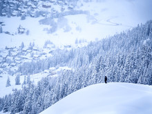 Aerial View Of Man On Ski Slope Forest