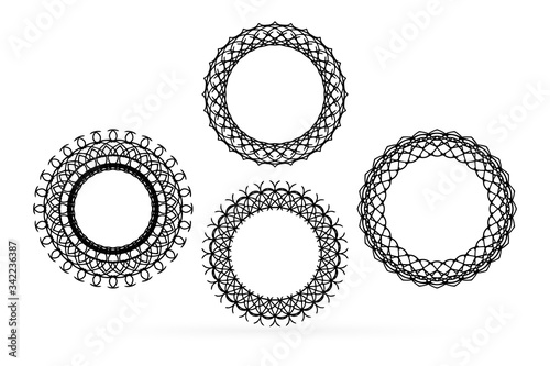 Fototapety, obrazy: Outline frame set isolated on white. Coloring border. Vector energy. Intersection of lines. Crossing lines. Intersection circles