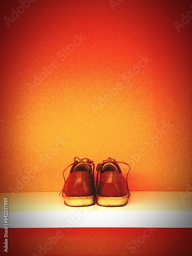 Pair Of Leather Shoes On Shelf Canvas Print