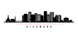 Richmond skyline horizontal banner. Black and white silhouette of Richmond, Virginia. Vector template for your design.