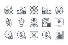 Cash And Money Line Icon Set. Payment And Dollar Outline Vector Icons. Savings And Family Budget Icon Collection.