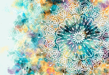 Fototapeta Współczesny Abstract mandala graphic design and watercolor digital art painting for ancient geometric concept background