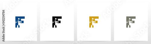 Tablou Canvas Castle With Flag On Letter Logo Design F