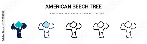 Photo American beech tree icon in filled, thin line, outline and stroke style