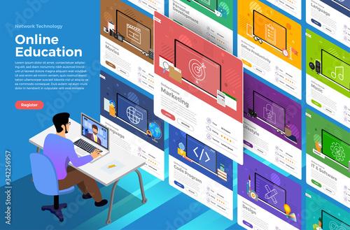 Illustrations flat design concept online education Fototapet