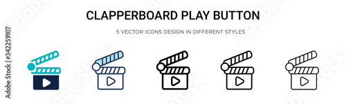 Clapperboard play button icon in filled, thin line, outline and stroke style Canvas Print