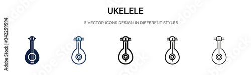 Ukelele icon in filled, thin line, outline and stroke style Fototapet