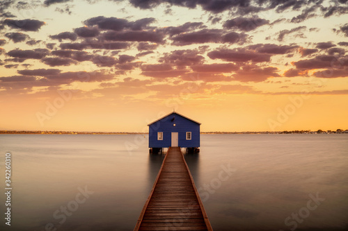 Sunrise over the Matilda Bay boathouse in the Swan River Canvas Print
