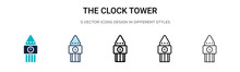 The Clock Tower Icon In Filled, Thin Line, Outline And Stroke Style. Vector Illustration Of Two Colored And Black The Clock Tower Vector Icons Designs Can Be Used For Mobile, Ui, Web