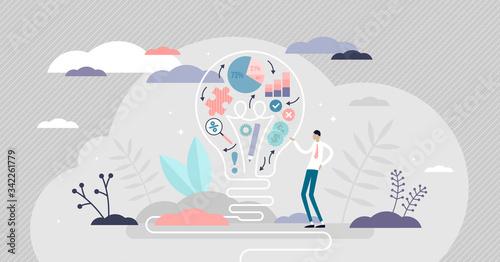 Fototapeta Creative strategy vector illustration. Innovative flat tiny persons concept obraz