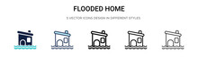 Flooded Home Icon In Filled, T...