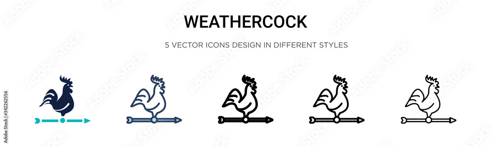 Fototapeta Weathercock icon in filled, thin line, outline and stroke style. Vector illustration of two colored and black weathercock vector icons designs can be used for mobile, ui, web