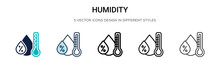 Humidity Icon In Filled, Thin Line, Outline And Stroke Style. Vector Illustration Of Two Colored And Black Humidity Vector Icons Designs Can Be Used For Mobile, Ui, Web