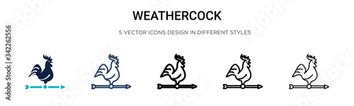 Weathercock icon in filled, thin line, outline and stroke style Canvas Print