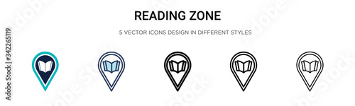 Reading zone icon in filled, thin line, outline and stroke style Fototapet
