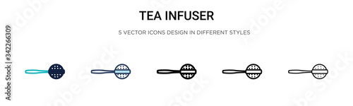 Fotografie, Tablou Tea infuser icon in filled, thin line, outline and stroke style