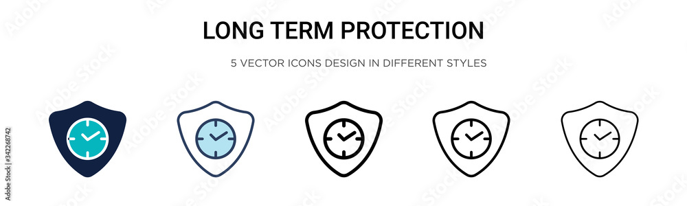 Fototapeta Long term protection icon in filled, thin line, outline and stroke style. Vector illustration of two colored and black long term protection vector icons designs can be used for mobile, ui, web