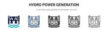 Hydro Power Generation Icon In Filled, Thin Line, Outline And Stroke Style. Vector Illustration Of Two Colored And Black Hydro Power Generation Vector Icons Designs Can Be Used For Mobile, Ui, Web