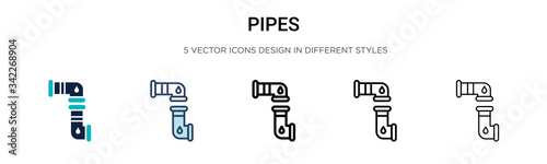 Pipes icon in filled, thin line, outline and stroke style Canvas Print