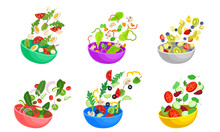 Sliced Vegetable And Fruit Salad Ingredients Falling Down In The Bowl Vector Set