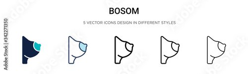 Bosom icon in filled, thin line, outline and stroke style Canvas Print